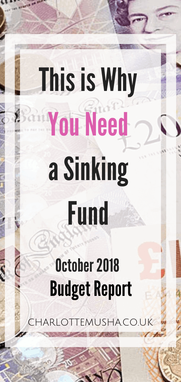 Budget Report October 2018 - A breakdown of our household income from work, side hustles and our regular expenses. I budget for a cleaner, deal with it by Charlotte at charlottemusha.co.uk #SinkingFund #SavingMoney #Howtobudget #MoneySavng