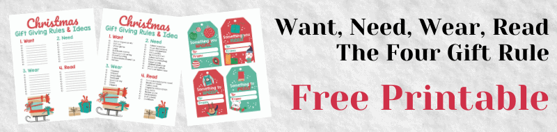 Want, Need, Wear, Read The four gift rule christmas printable
